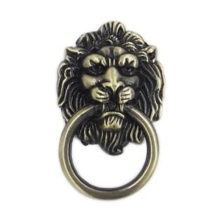 Antique Brass Lions Head Vintage Metal Knobs (Pack of 6)