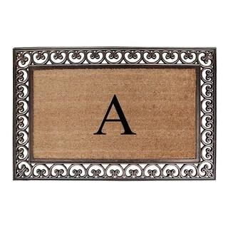 Natural/Brown Rubber/Coir Classic Paisley Border Extra Large Doubledoor Monogrammed Doormat