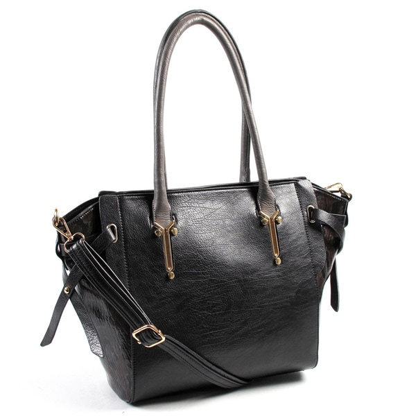 Joanel Black PVC Shoulder Handbag