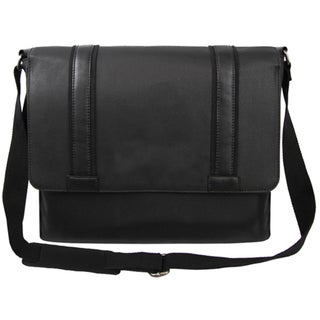 Bellino Metropolitan Black Canvas and Leather Laptop Messenger Bag