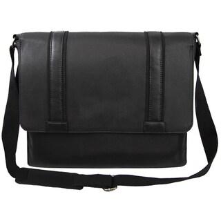 Bellino Metropolitan Black Canvas and Leather Laptop Messenger Bag