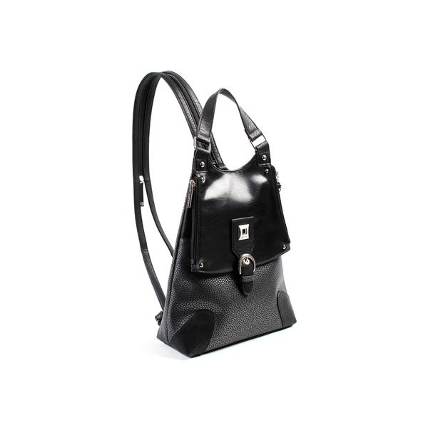 Joanel Black Convertible Satchel Handbag Backpack