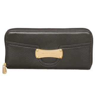 Michael Kors Saratoga Black Zip Around Continental Wallet