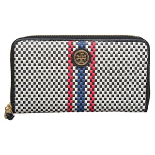 Tory Burch Jane Woven Leather Zip Continental Wallet