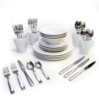 Oneida Kato White Porcelain Dinnerware and Silver Flatware Bundles (Service for 4 or 8)