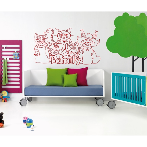 The family of cats Wall Art Sticker Decal Red