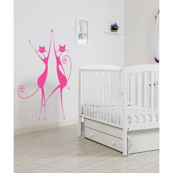 Elegant cat Wall Art Sticker Decal Pink