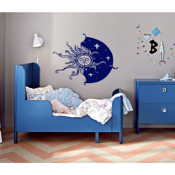 The sun moon sky stars Wall Art Sticker Decal Blue