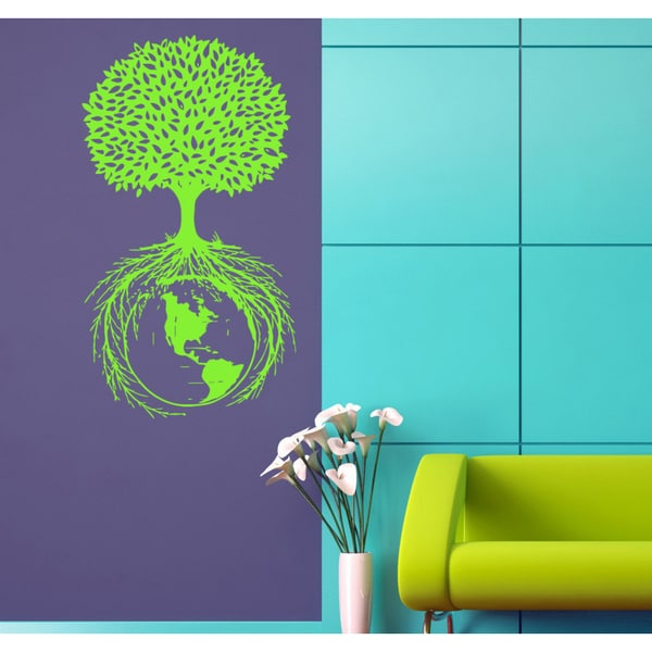 Planet Earth a life tree roots Wall Art Sticker Decal Green