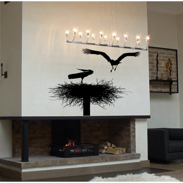 The birds and the nest on a tree Wall Art Sticker Decal