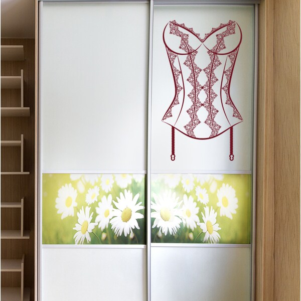 Female corset Wall Art Sticker Decal Red