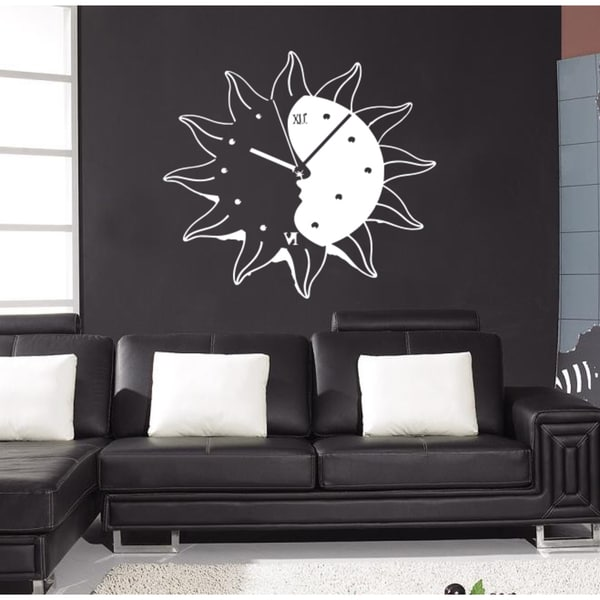The sun moon clock time Wall Art Sticker Decal White
