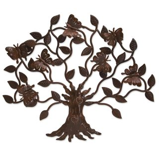 Handcrafted Iron 'Butterfly Tree' Wall Sculpture (Mexico)