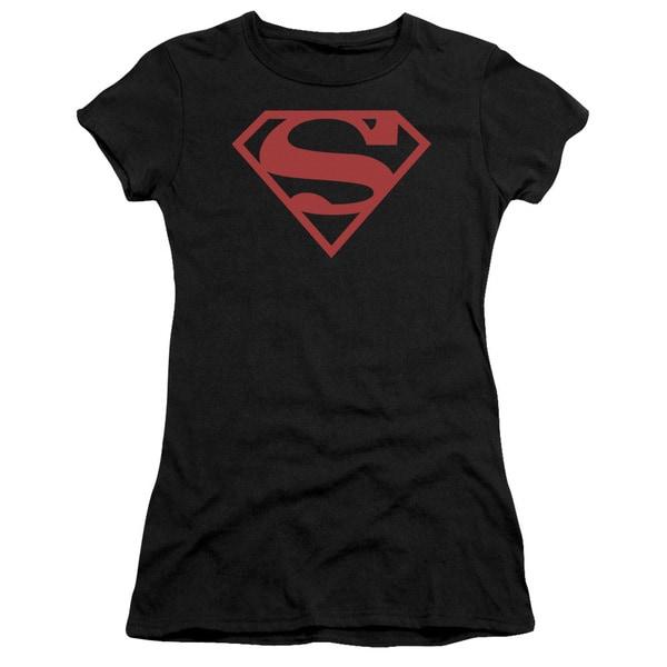Superman/Red On Black Shield Junior Sheer in Black