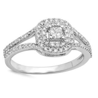 14k Gold 1/2ct TDW Diamond Split Shank Vintage Halo Engagement Ring (I-J, I1-I2)