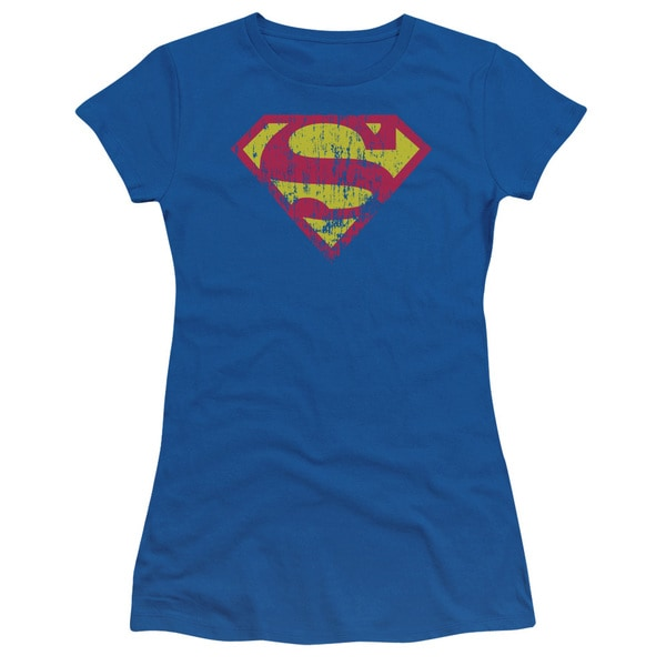 Superman/Classic Logo Distressed Junior Sheer in Royal Blue