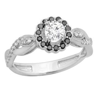14k Gold 3/4ct TDW Black and White Diamond Swirl Split Shank Halo Engagement Ring (I-J, I1-I2)