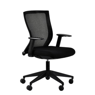 Curv Contemporary Black Fabric and Metal Curved-back Adjustable Height Swivel Desk Chair