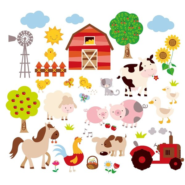 Farm Friends Peel & Stick Kids Room/Nursery Wall Decal for Boys & Girls
