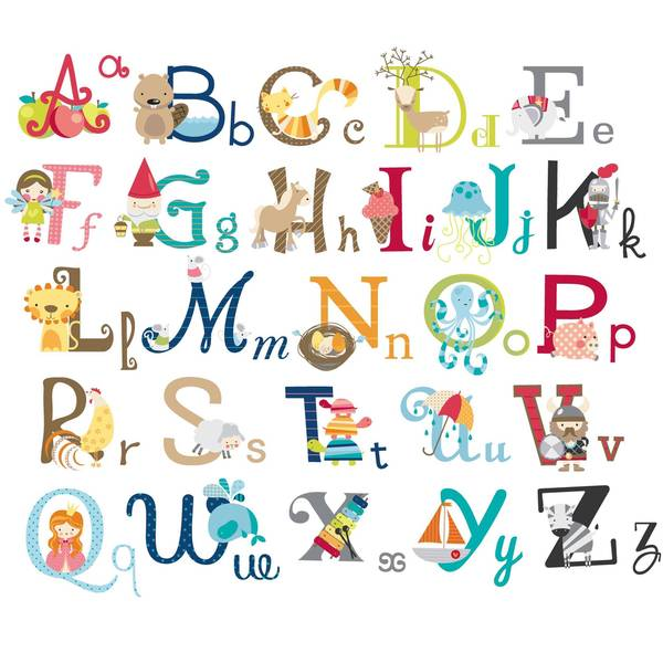 Big Graphic Alphabet Letters Peel & Stick Kids Room/Nursery Wall Decal for Boys & Girls