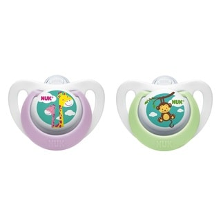 NUK Purple and Green Silicone 2-pack Newborn Orthodontic Pacifier
