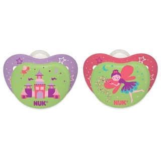 NUK Castle/Fairy Night Glow Plastic Pacifiers for Babies Aged 6 to 18 Months (Set of 2)