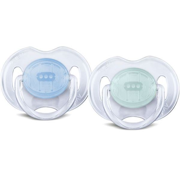 Philips Avent Green, Blue Plastic, Silicone Translucent Newborn 0 to 6 Months Pacifiers (Pack of 2)