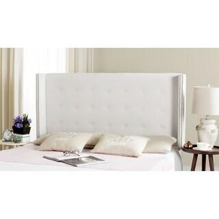 Safavieh Keegan White Velvet Upholstered Tufted Wingback Headboard (Queen)