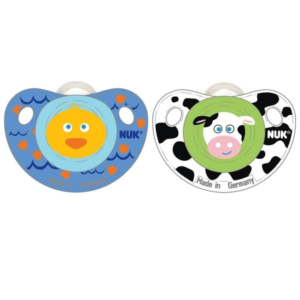 Nuk Cute as a Button BPA-free 0-6 Month Duck and Cow Pacifiers (Set of 2)