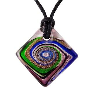 Square Murano Multicolored Glass Pendant
