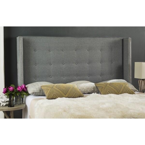 Safavieh Keegan Grey Linen Upholstered Tufted Wingback Headboard Twin