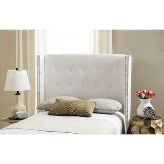 Safavieh Keegan White Velvet Upholstered Tufted Wingback Headboard (Full)