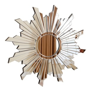 ABBYSON LIVING Newport Silver Glass and Wood Round Wall Mirror