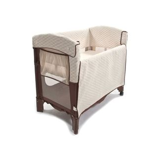 Arm's Reach Concepts Brown and Off-white Polyester Mini Convertible Arc Co-sleeper Bedside Bassinet