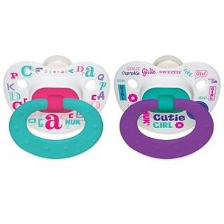 NUK Baby Talk Aqua/Purple 0-6 Months 2-piece Orthodontic Pacifier Set