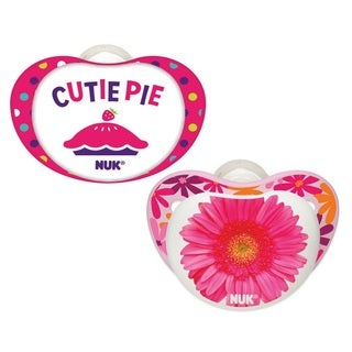 Nuk Pink Cutie Pie/Flower Small Talk 6-18 Months Pack of 2 Orthodontic Pacifiers