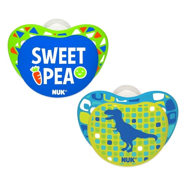 Nuk Dino/Pea Small Talk Blue/Green Plastic 0-6 Months Orthodontic Pacifier (Pack of 2)
