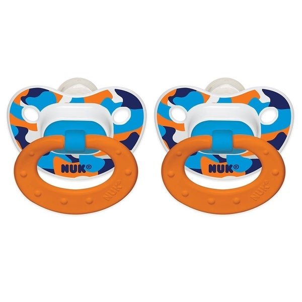 Nuk Blue, White, Orange Camo Plastic Size 2 Orthodontic Pacifier (Pack of 2)