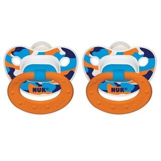 Nuk Blue, White, Orange Camo Plastic Size 2 Orthodontic Pacifier (Pack of 2)