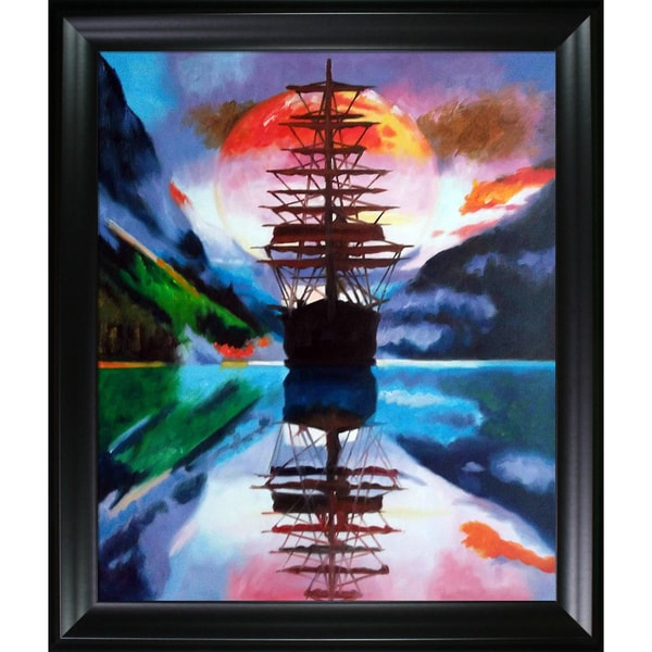 Celito Medeiros 'Night Passage' Hand Painted Framed Canvas Art