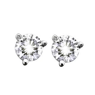 Beverly Hills Charm 14k White Gold 1/3ct TDW Certified Diamonds 3-Prong Martini Stud Earrings (G-H, SI2-SI3)