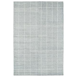 Handmade Collins Glacier Blue & Ivory Nomad Rug (8'0 x 11'0)