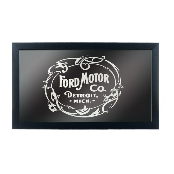 Ford Framed Logo Mirror - Vintage 1903 Ford Motor Co. Black