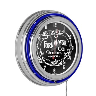 Ford Chrome Double Rung Neon Clock - Built Ford Tough
