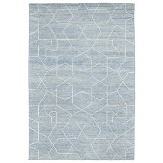 Handmade Collins Light Blue & Slate Nomad Rug (8'0 x 11'0)