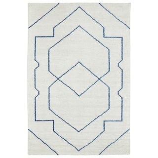 Handmade Collins Ivory & Blue Nomad Rug (8'0 x 11'0)