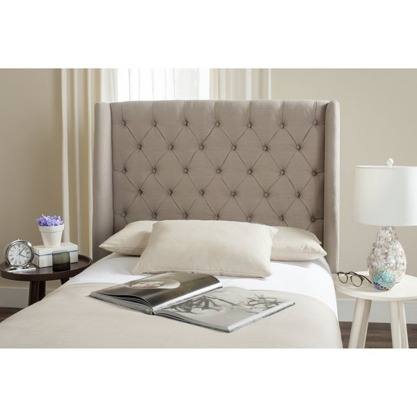 Safavieh London Light Grey Upholstered Tufted Wingback Headboard Twin
