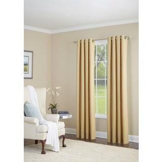 Everett Gold Cotton/Linen/Polyester Grommet-top Single Curtain Panel
