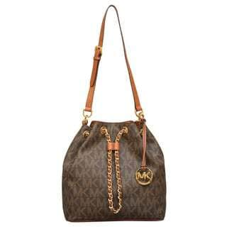 Michael Kors Large Frankie Brown Logo Drawstring Convertible Shoulder Bag