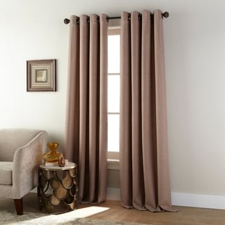 Polyester Faux Linen Grommet Light Filtering Single Curtain Panel